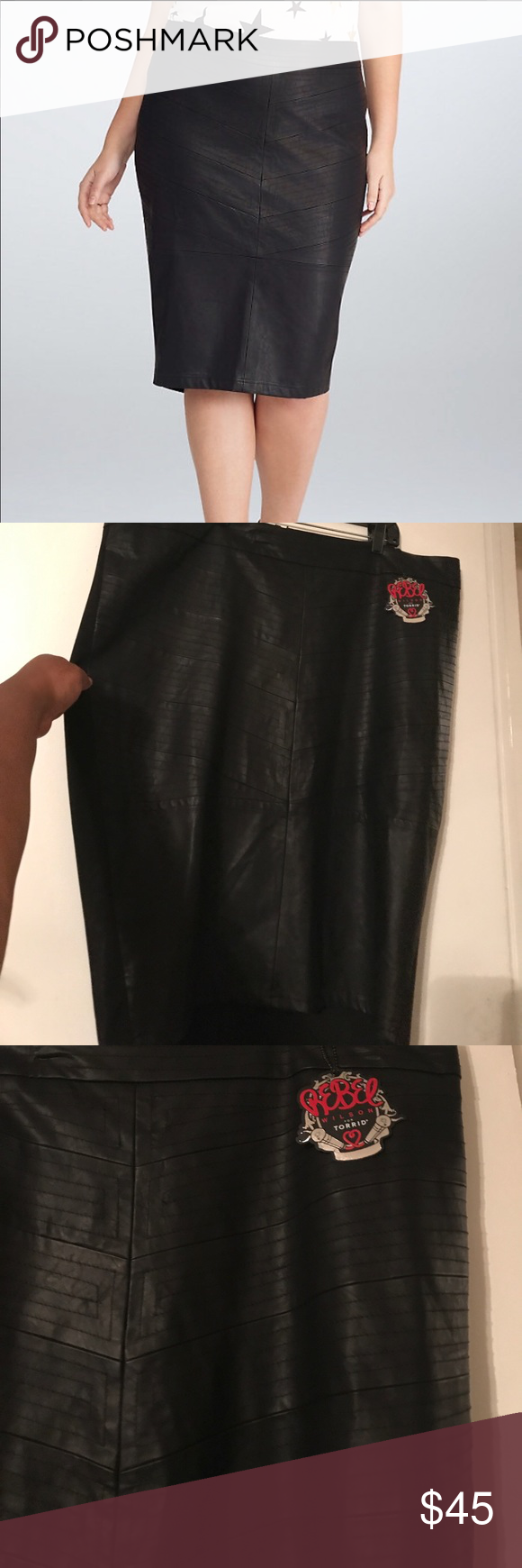 Torrid Faux Leather Skirt From the Rebel Wilson for Torrid Collection...faux leather in the front & ponte in the back with exposed zipper...I️ love how the stitching makes a Chervon print...zipper pull has a microphone...sorry for the hanger markson the waist(see last pic) torrid Skirts Pencil