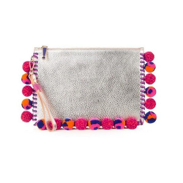 Sophia Webster Flossy pompom-embellished leather pouch (1.350 BRL) ❤ liked on Polyvore featuring bags, handbags, clutches, silver multi, genuine leather handbags, evening purses, real leather handbags, white clutches and genuine leather purse