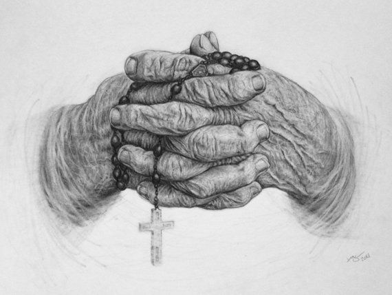 Rosary Hands Religious Art Prayer Pencil by ...