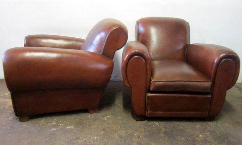 mieux aimé a2cc7 a97f5 Paire de fauteuils club en cuir ancien des années 1940 , la ...
