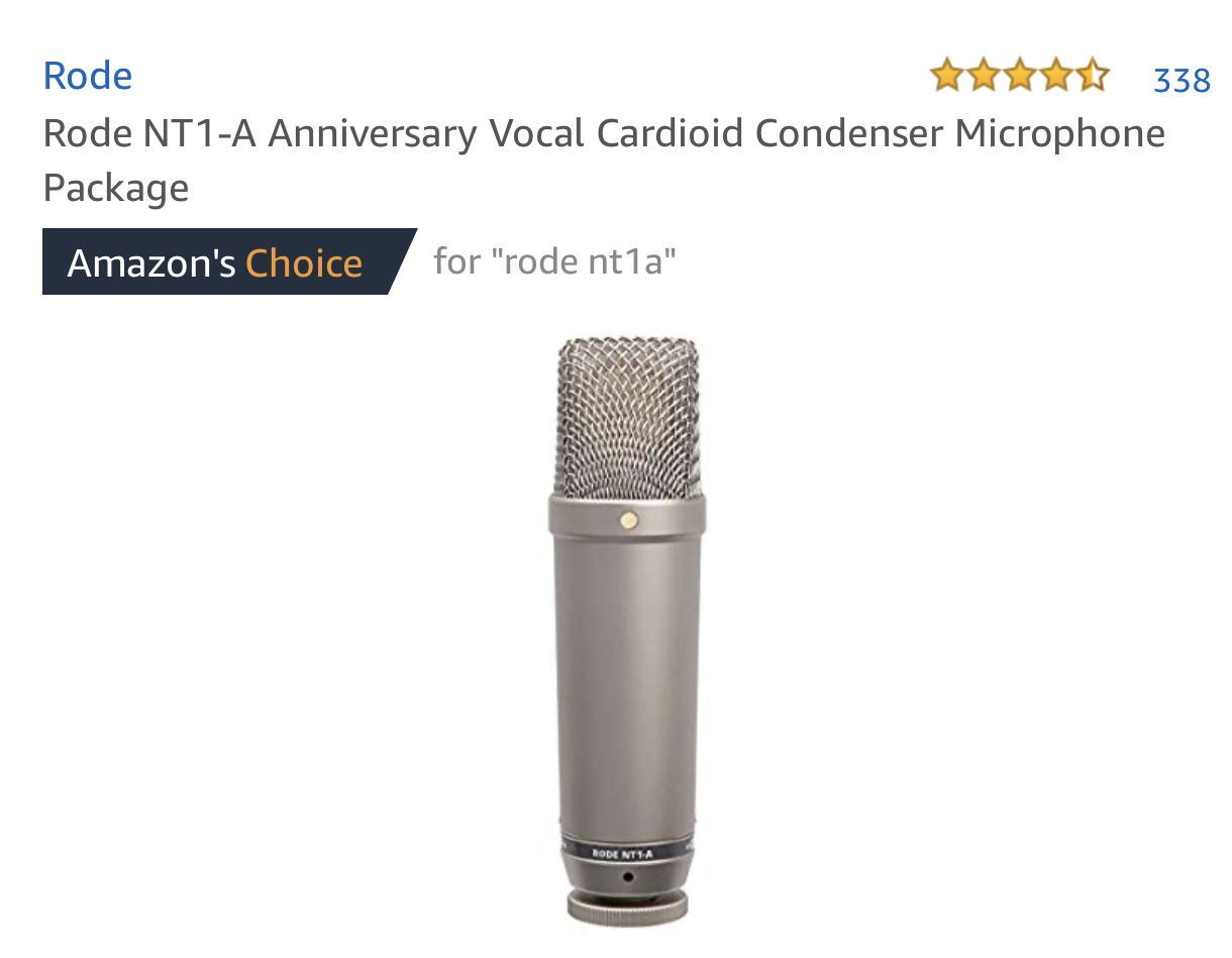 Rode Nt1 A Anniversary Vocal Cardioid Condenser Microphone Package Amazon Best Deals Click Here Https Amzn To 2labj2d Specific Microphone Condensation Vocal