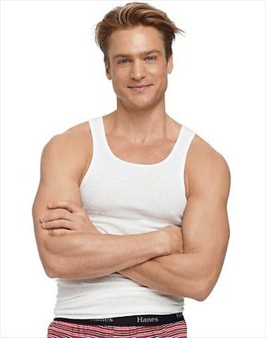 New 6 pk Men/'s Muscle Tank Top White Undershirt Cotton Hanes Tagless A-shirt Gym