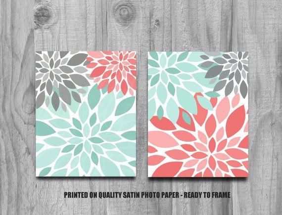 Coral Jade and Gray Flower Burst Print Set Home Decor or Nursery ...