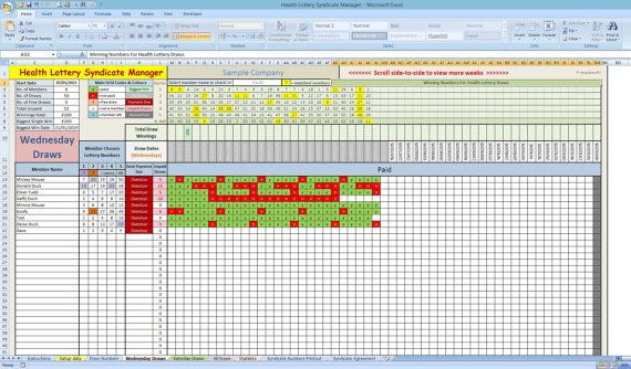 UK Health Lottery Syndicate Manager Excel Template by