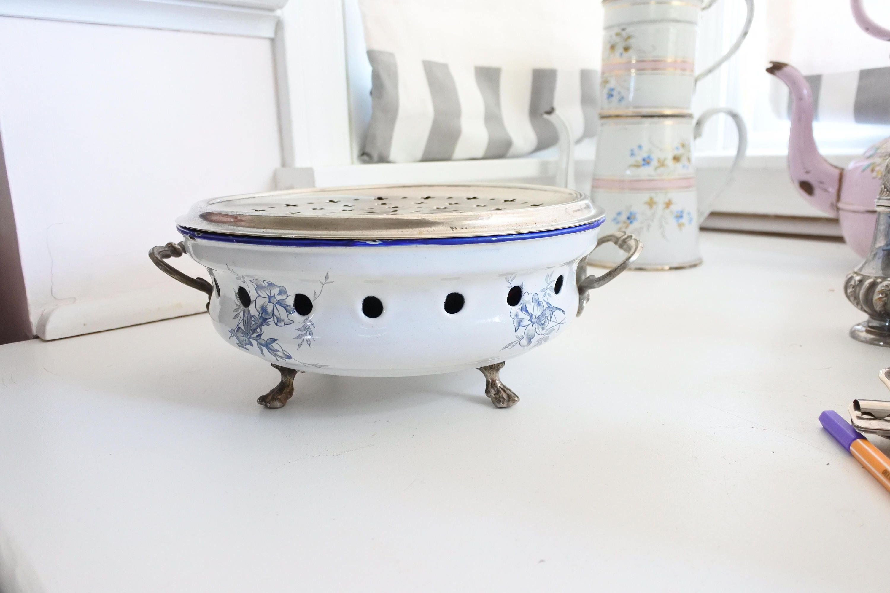 French Enamelware Warmer by Japy Freres c 1890 White with Blue