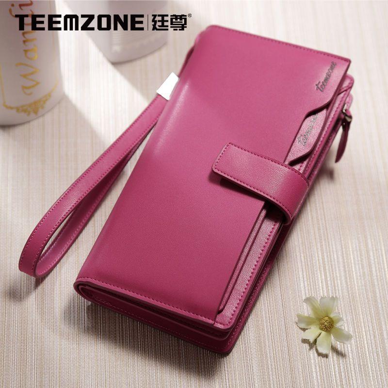 Women Genuine Leather Long Organizer Snap Button Large Wallet Wrist Handbag #teemzone #phonewallethandbag