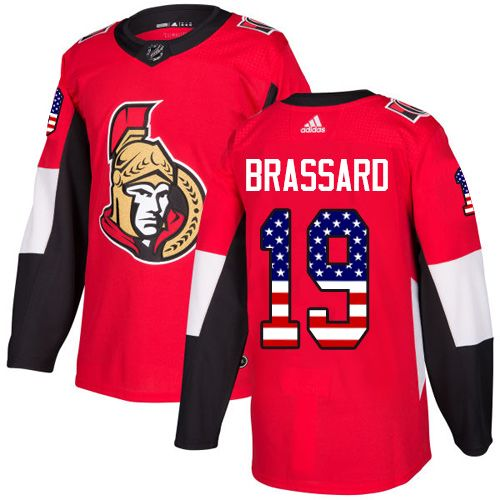 1c6c0858285 Adidas Senators  19 Derick Brassard Red Home Authentic USA Flag Stitched Youth  NHL Jersey