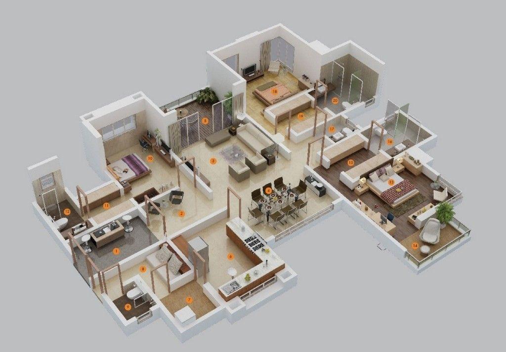3 Bedroom Apartment House Plans Design Architecture And Art Worldwide 3d House Plans 5 Bedroom House Plans Apartment Floor Plans