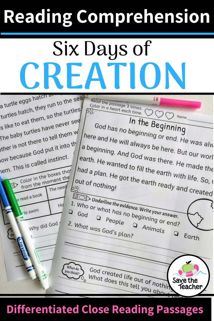 Reading Comprehension Passages Days Of Creation K 2 Distance Learning Worksheets Reading Comprehension Passages Teaching Comprehension Reading Comprehension [ 1102 x 735 Pixel ]