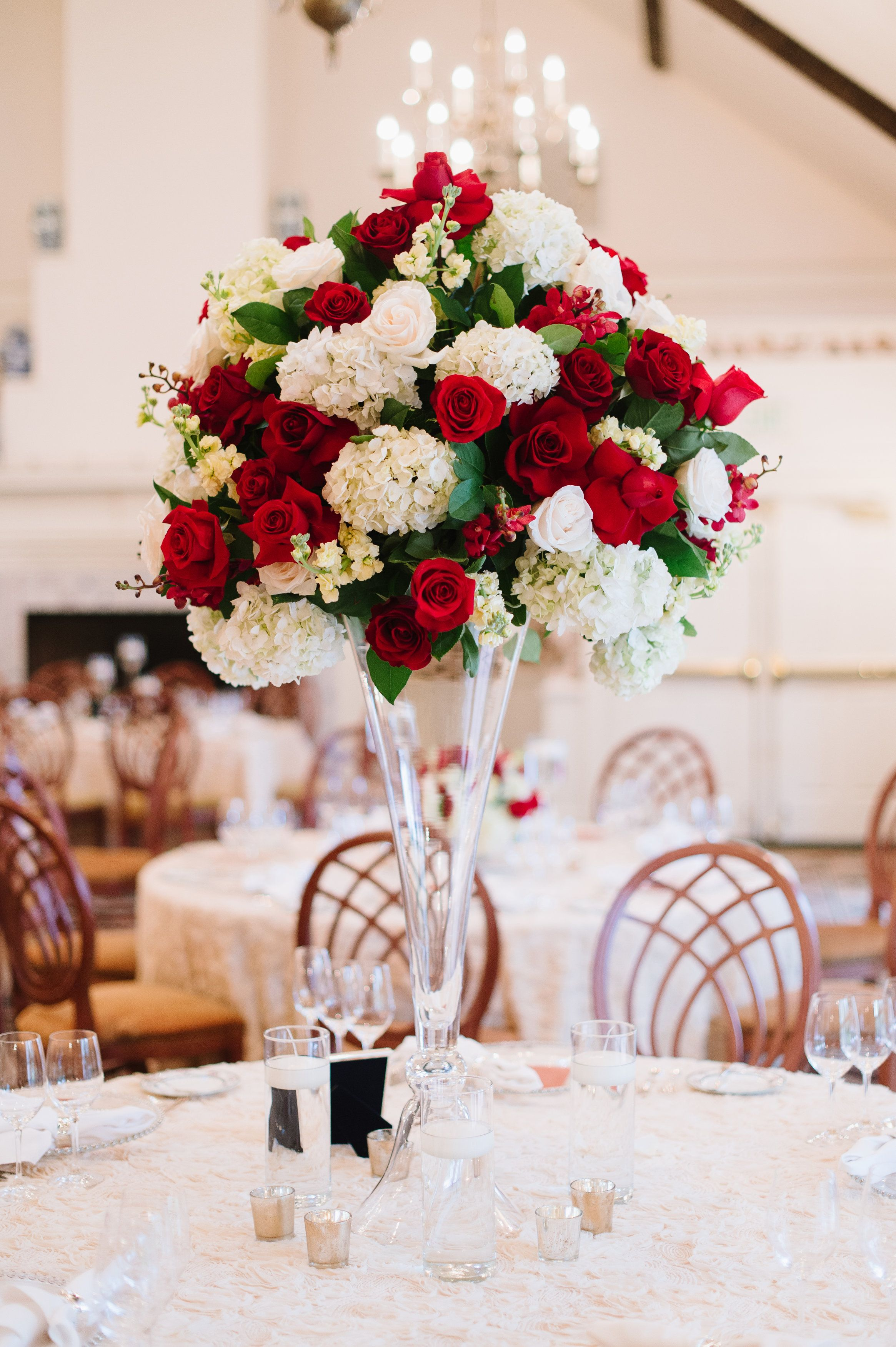 Red, white and green garden wedding centerpiece | Amanda and Jacob\'s ...