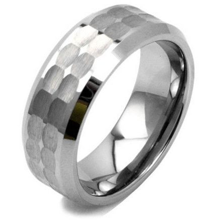 8mm Tungsten Hammered Wedding Ring With Nicely Polished Edges Hammered Wedding Rings Tungsten Carbide Wedding Rings Mens Wedding Rings