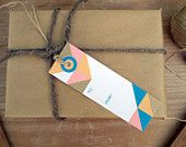 Hand Screenprinted Gift Tag - Vintage Retro Triangle Pattern