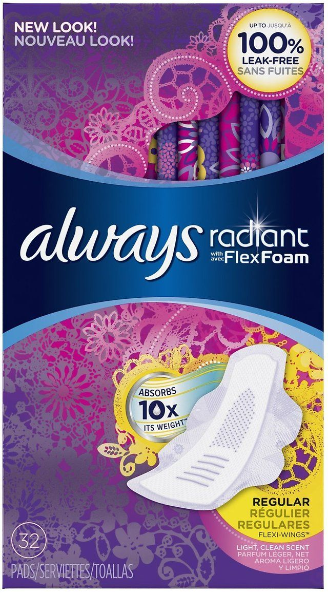 32 count always radiant infinity regular with wings pads 5 97