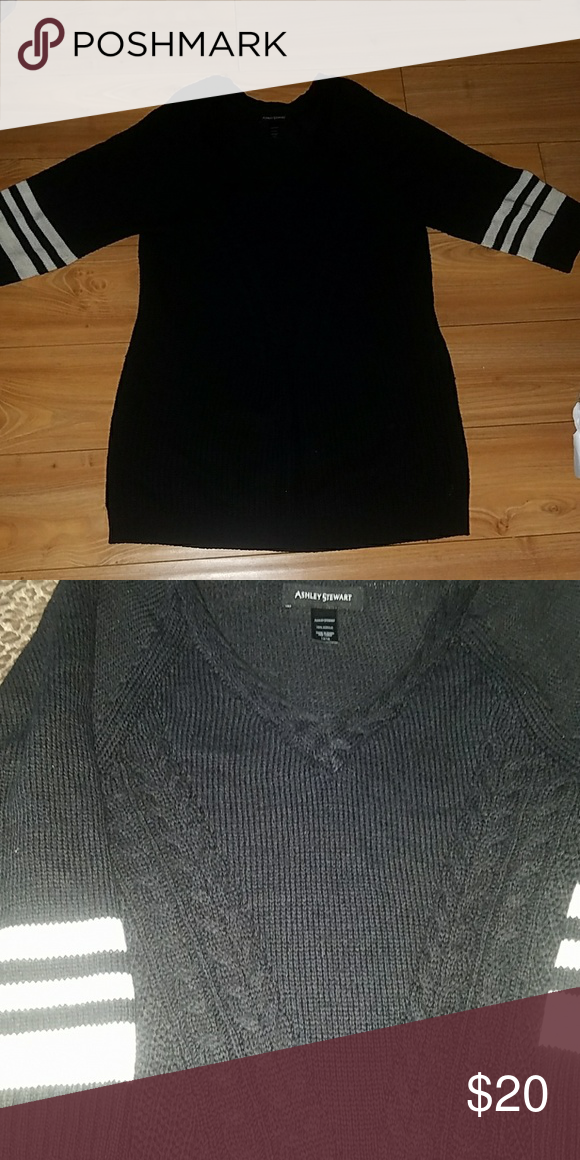 802773694c Black Sweater 3 4 inch sleeves with white strips. V-neck. Long
