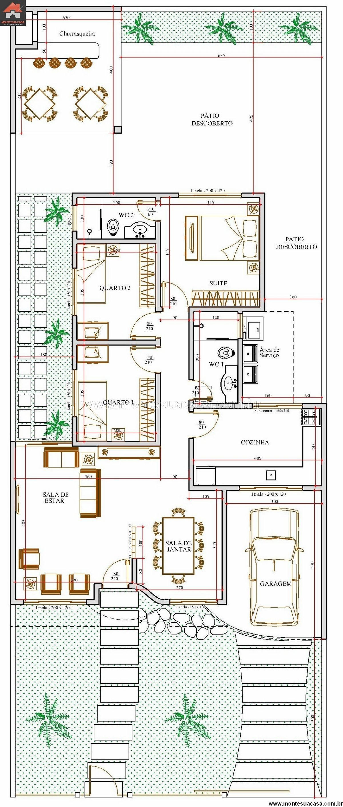 Casa 2 Quartos 10173m2 Arquitetura Pinterest Planos - Planos-de-casas-de-una-planta-pequeas