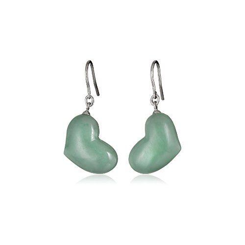 Sterling Silver Green Jade Heart Dangle Earrings - $66.66