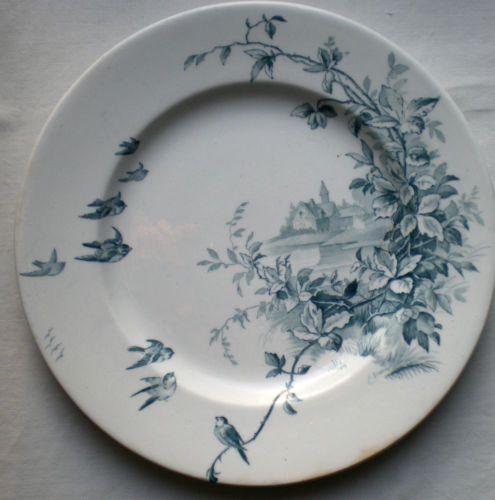 assiette dessert terre de fer porcelaine opaque gien envol e d 39 oiseaux ebay blue. Black Bedroom Furniture Sets. Home Design Ideas