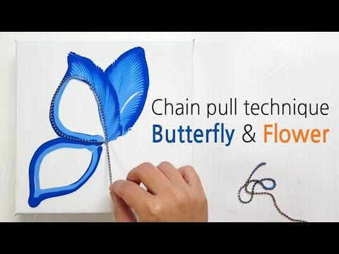 (200) Chain String pull _ Butterfly and Flower _ Acrylic Pouring _ Fluid acrylic _ Designer Gemma77