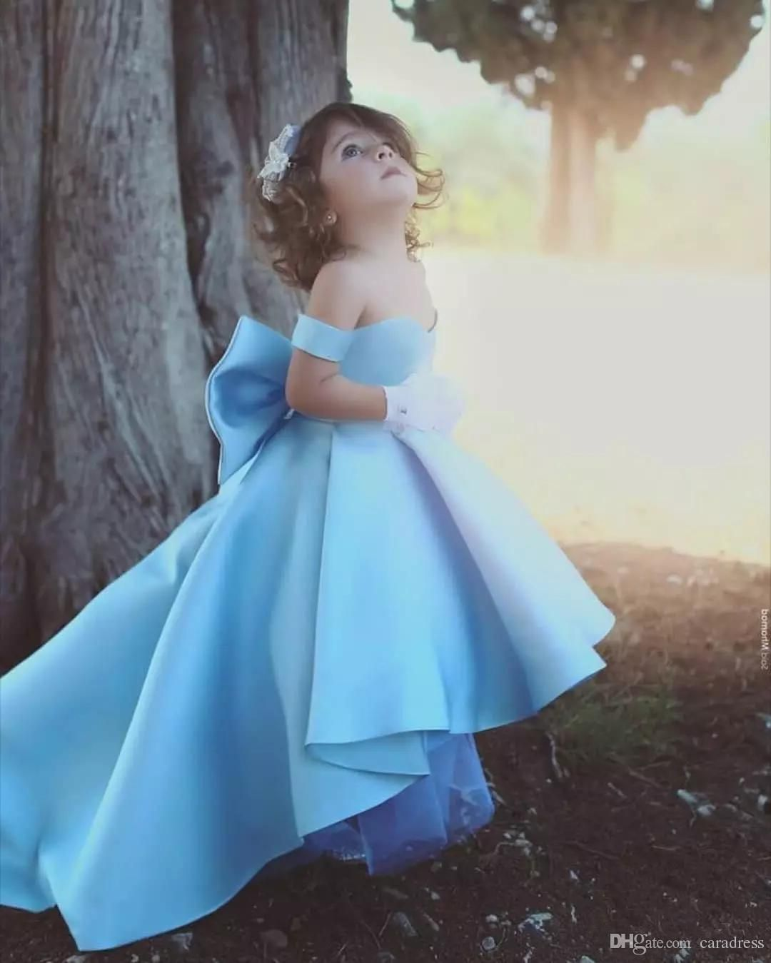 Cute baby blue flower girls dress with big bow high low