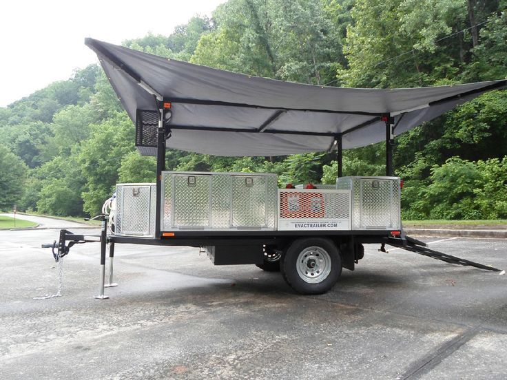 One Phase To Building The Cargo Trailer With Kitchen And Fold Out Rooftop Tent Build The Roof Supports With Folding Arms Truck Canopy Canopy Tent Beach Canopy
