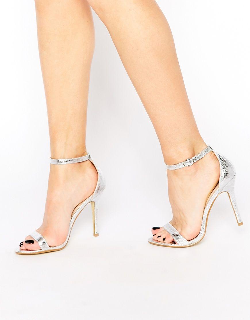 Imagen 1 de Sandalias de tacón en dos partes de charol plateado de Glamorous
