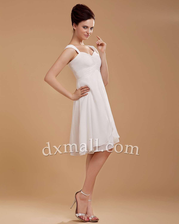 White short wedding dresses  Short Wedding Dresses Square Knee Length Chiffon Stretch satin Ivory