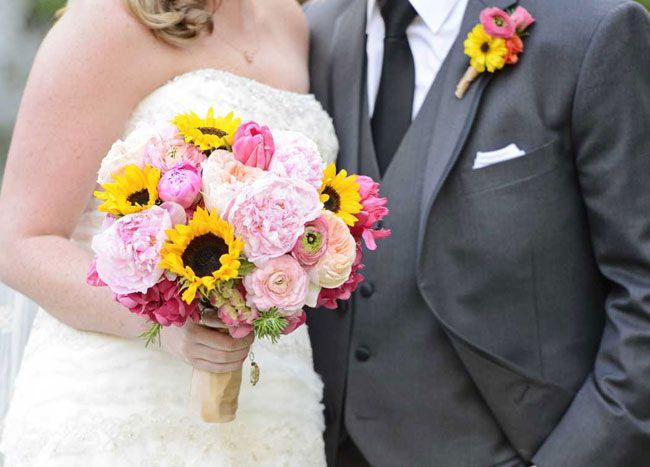 Suflower and Peony Brida Bouquet