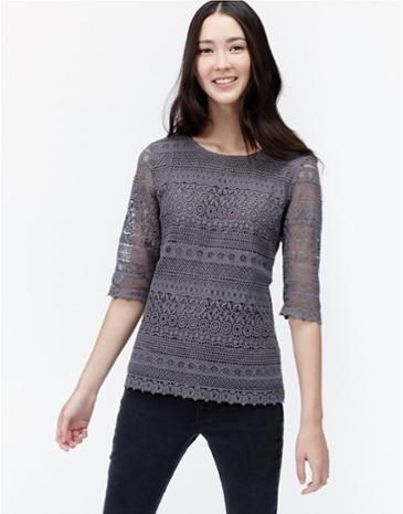 8087e66bcfb45d Joules Womens Lace Top, Slate. Fully lined in crepe this crochet lace  overlay top