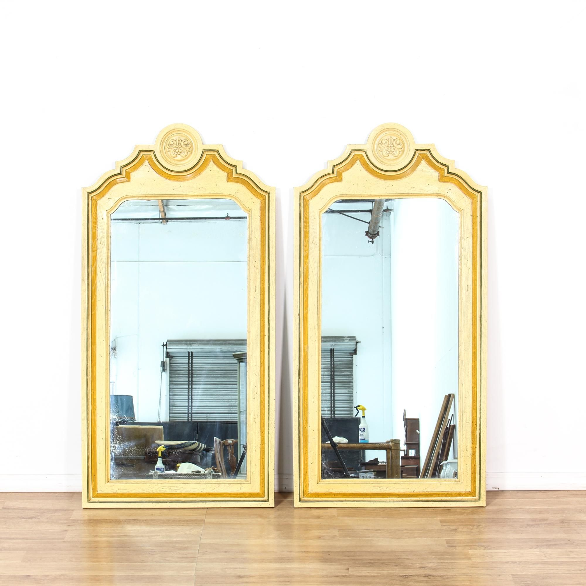 Pair Of Yellow French Provincial Carved Mirrors | Cottages, French ...