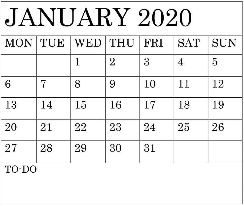 Editable Calendar January 2020 Template: Blank January 2020 Calendar Editable Template
