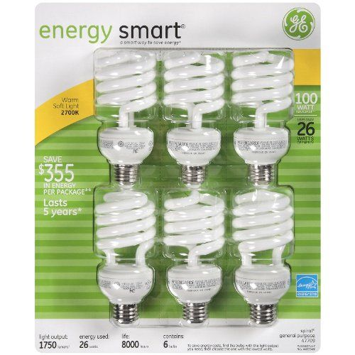 Best Selling Of Ge 26 Watt Energy Smart Cfl 6 Pack 100 Watt Replacement Cfl Bulbs Energy Efficient Appliances Grow Light Bulbs