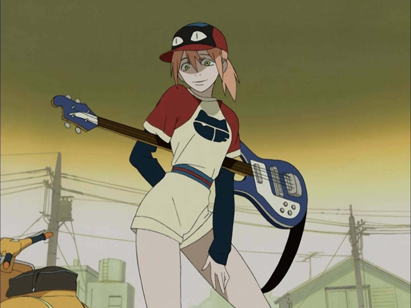 Haruko In Relaxed Pose Holding Her Bass Ready For Baseball