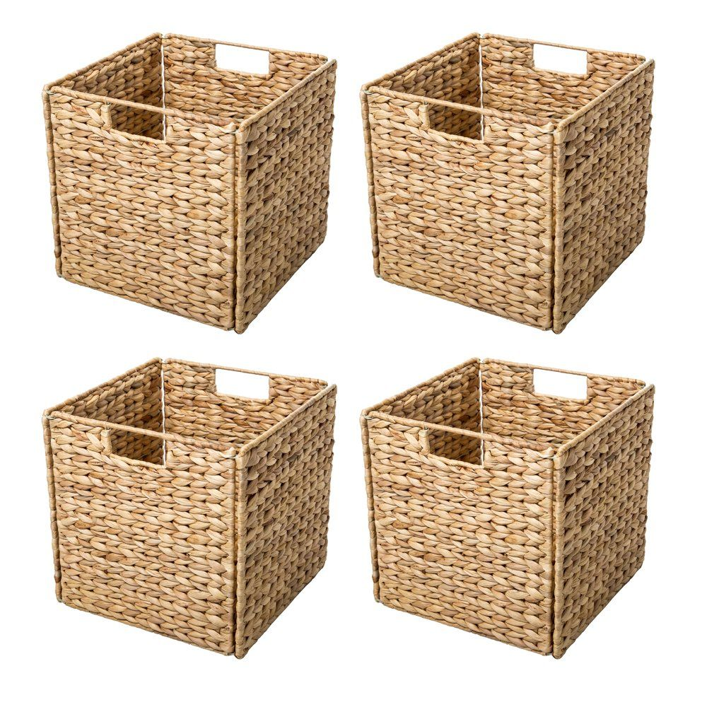 Foldable Hyacinth Storage Basket with Iron Wire Fr
