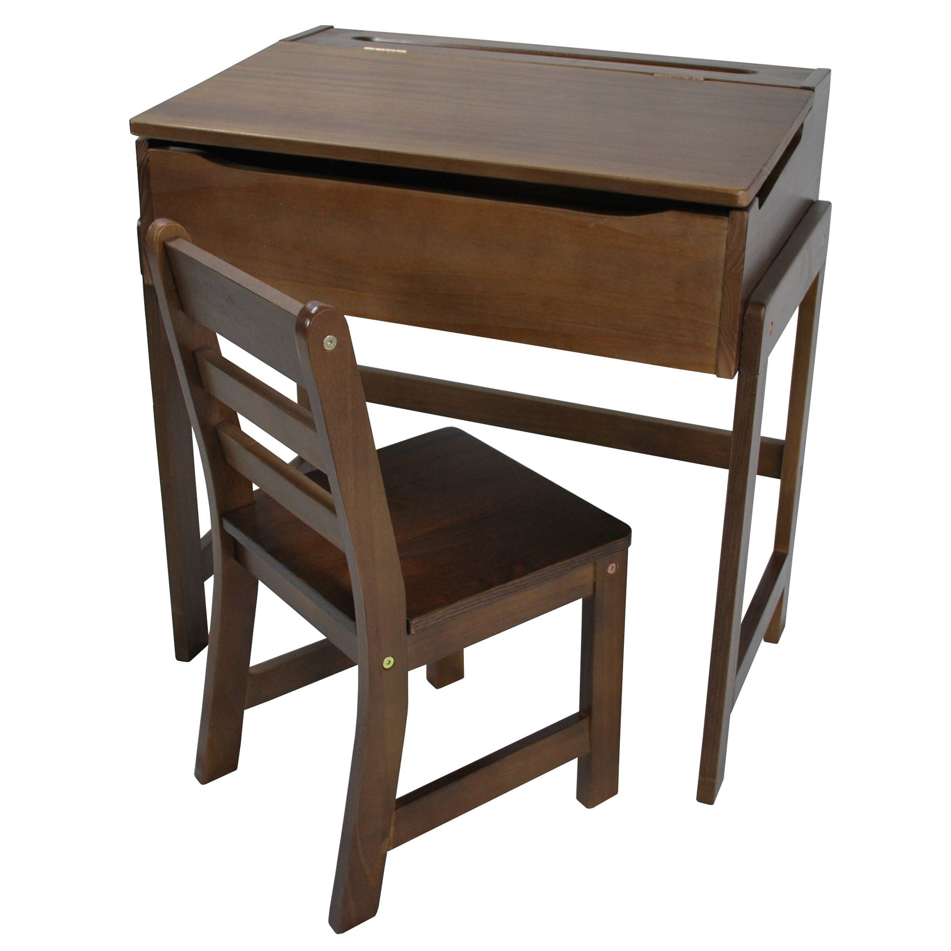 This walnut children\'s desk and chair set is made of solid wood for ...