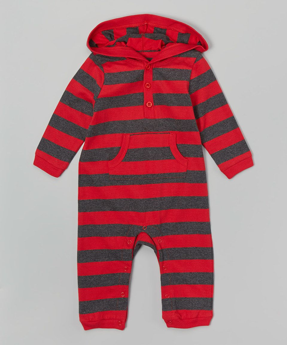 Another great find on #zulily! Red & Charcoal Stripe Hoodie Romper - Infant by Leveret #zulilyfinds