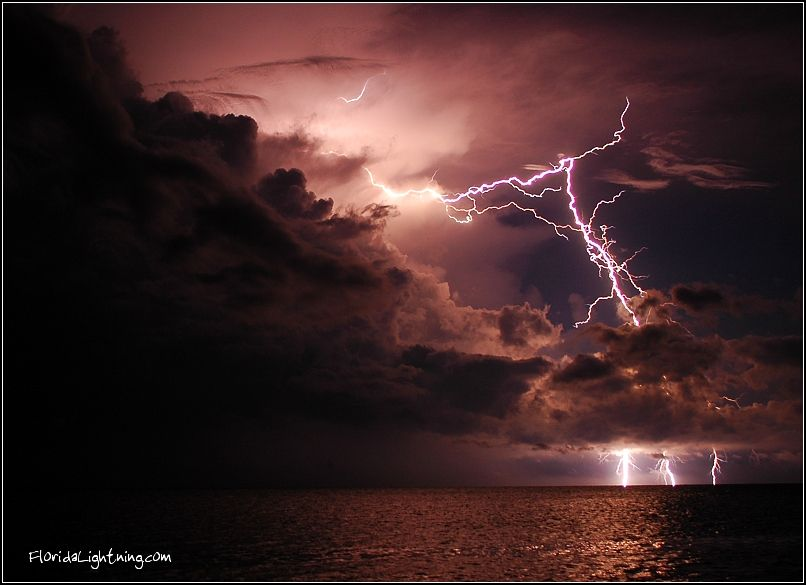 Positively Charged Lightning Strike Over The Atlantic Ocean Islamorada FL