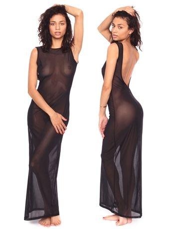 Micro-Mesh Long Scoop Back Dress | Shop American Apparel - StyleSays