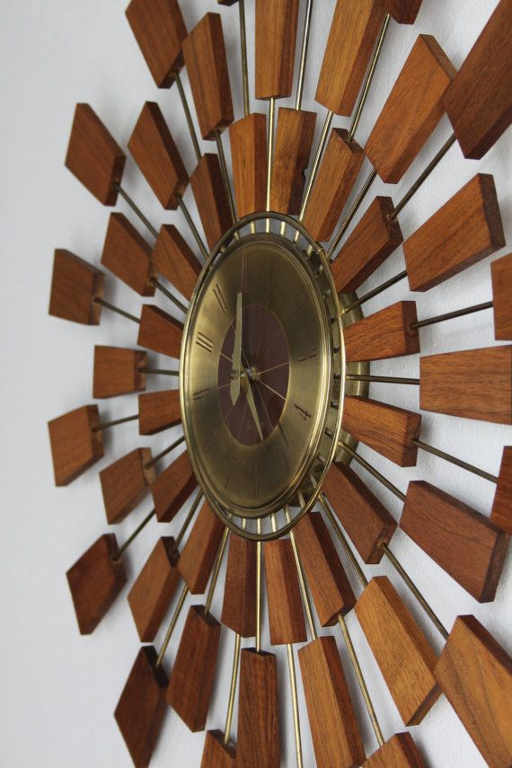 teak wood atomic wall clock mid century starburst