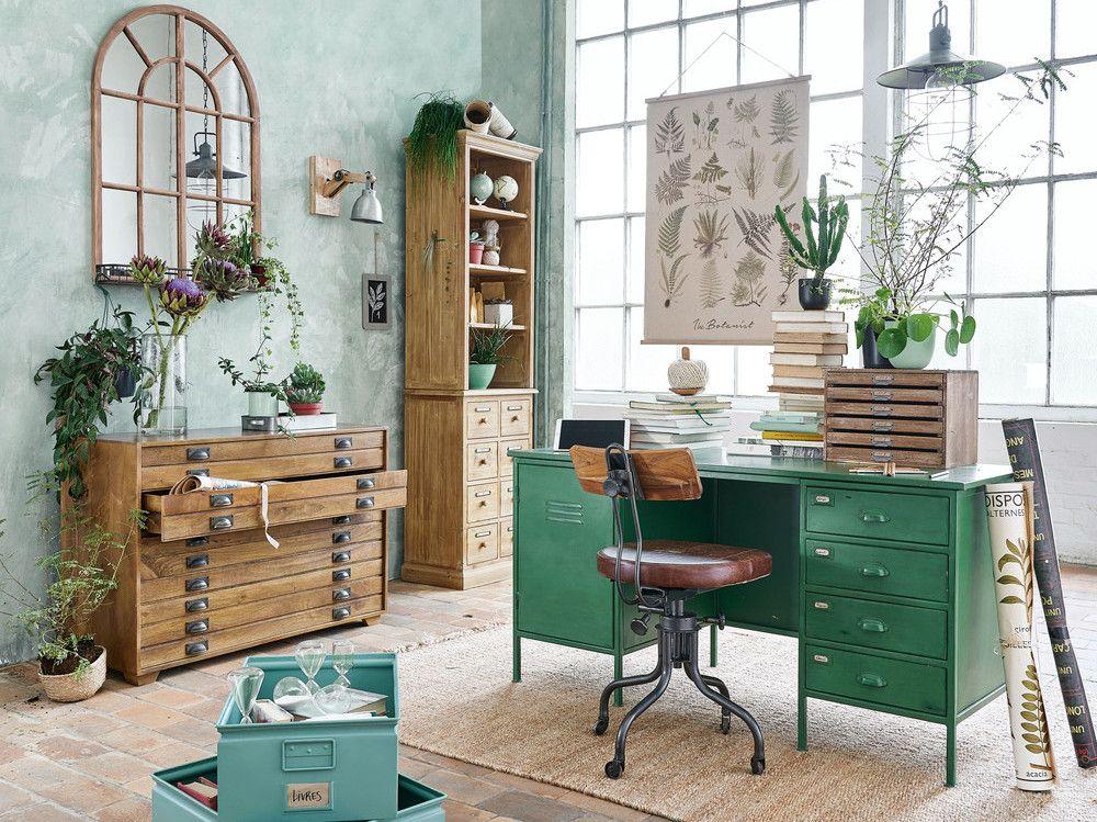 Inspirations pour une d co vert meraude id es pour la maison bureau industriel bureau - Deco bureau maison ...