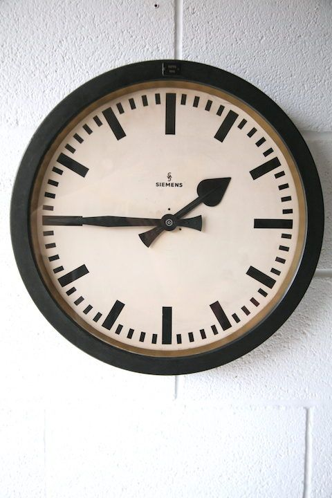 Bathroom Wall Clocks: 1950s Round Industrial Wall Clock By Siemens