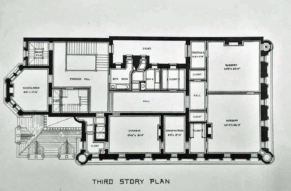 Cornelius Vanderbilt Ii House Original Post Design Prior To The Hunt Renovation Expansion 3rd Floor Mansion Plans House Floor Plans Vanderbilt Houses