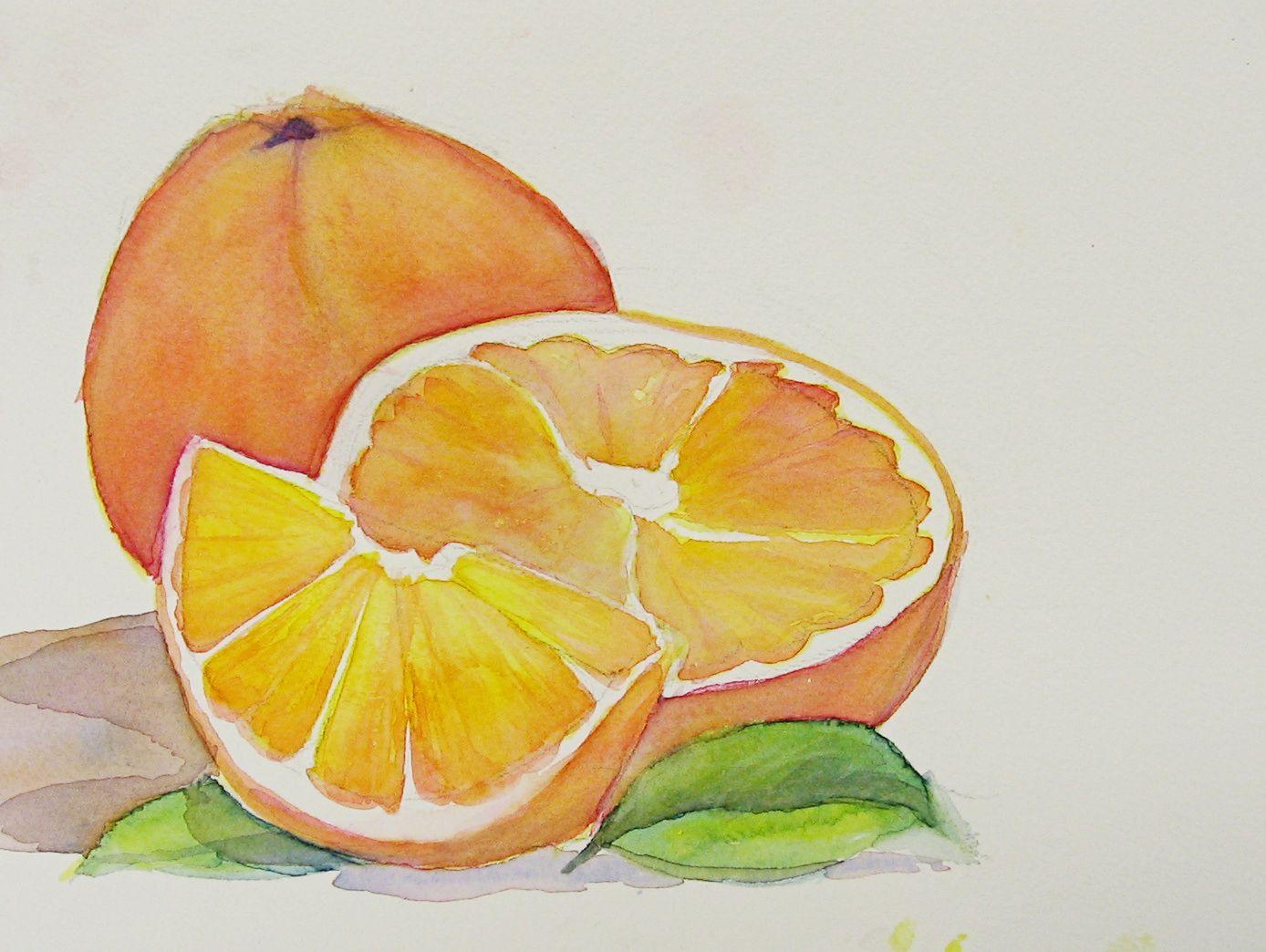 Watercolor Pencil Fruit Bowl Fruit Painting Fruit Basket