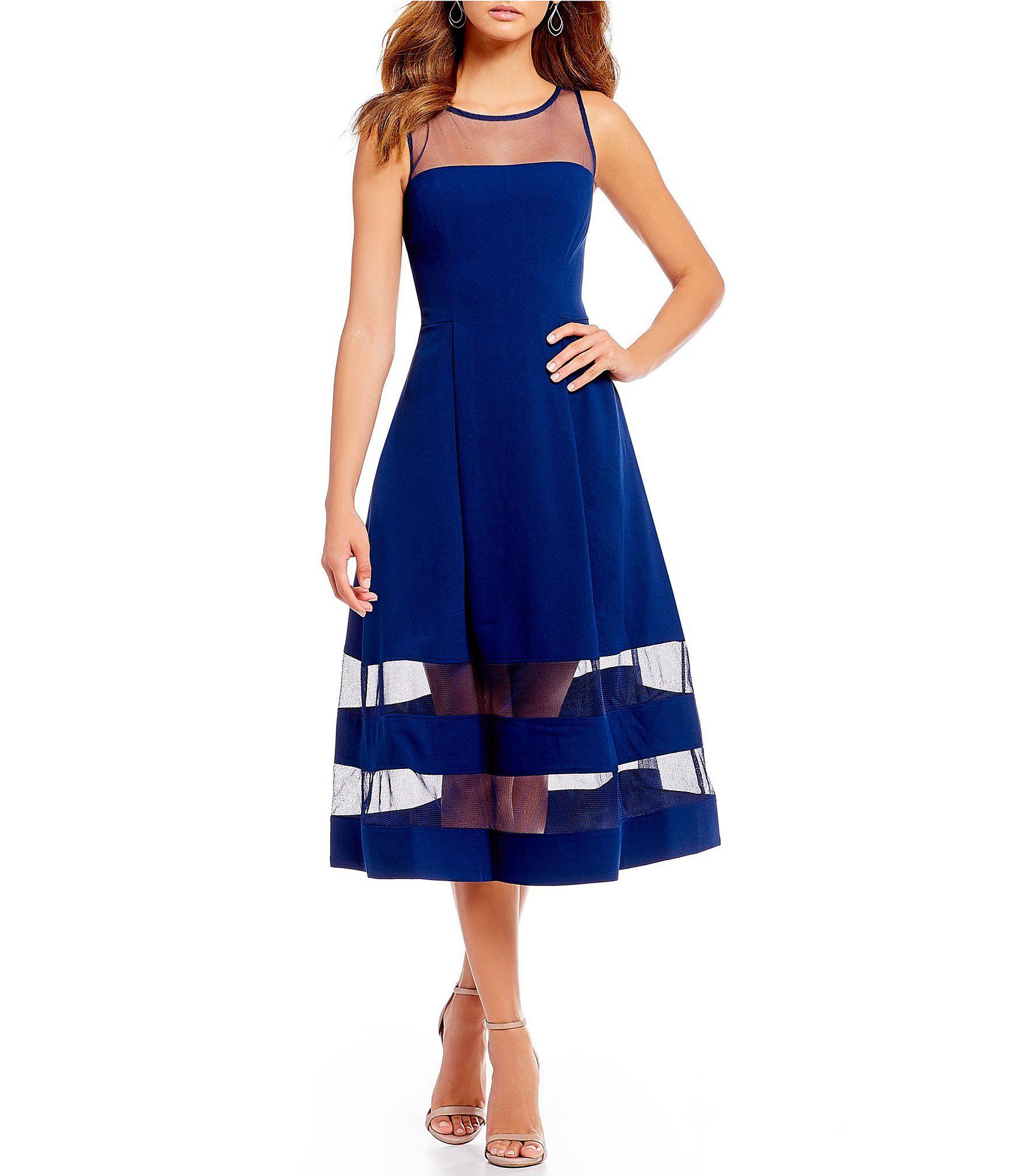 30911a24136 Aidan Aidan Mattox Illusion Midi Dress  Dillards