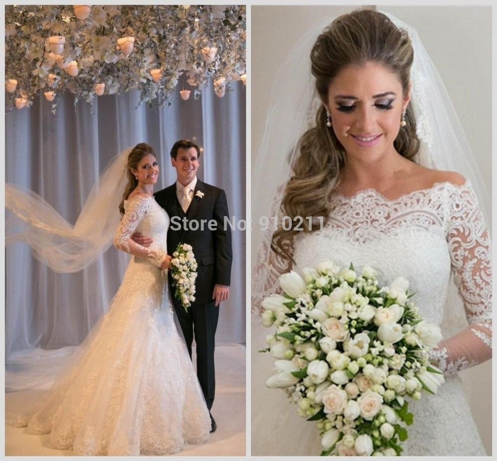 unique a line high neck appliques lace wedding dresses vintage long sleeves bridal gown beach