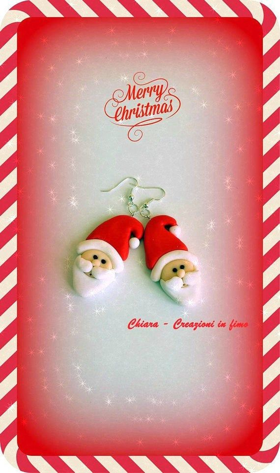 Santa Claus earrings in polymer clay, christmas festive earrings for a BFF gift, cute santa for a secret santa gift, father christmas #secretsantaideasforwork