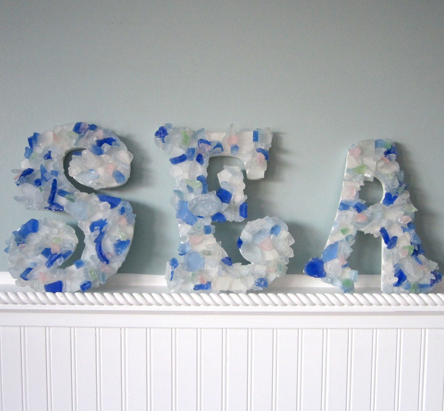 Glass Letters For Wall Beach Decor 2Pc Sea Glass Wall Letters  Any 2 Nautical Beach