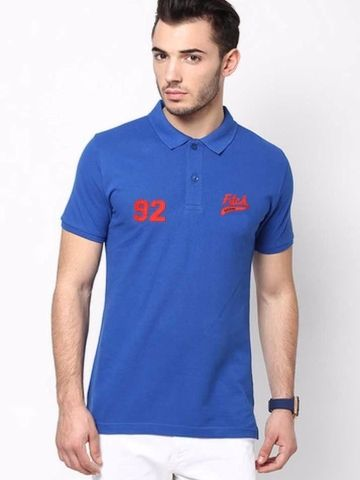 Add a dash of style to your glamorous look by wearing this blue Polo T-shirt from the latest collection of Abercrombie & Fitch. While the chic print elevates the fashion appeal of this regular-fit creation, the fine cotton rich fabric promises a soft feel.     Type Polo T-Shirts   Fabric Cotton   Neck Polo Neck   Fit Regular   Color Blue