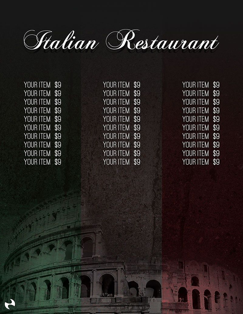 Free Italian Restaurant Menu Template | Design Freebies | Pinterest