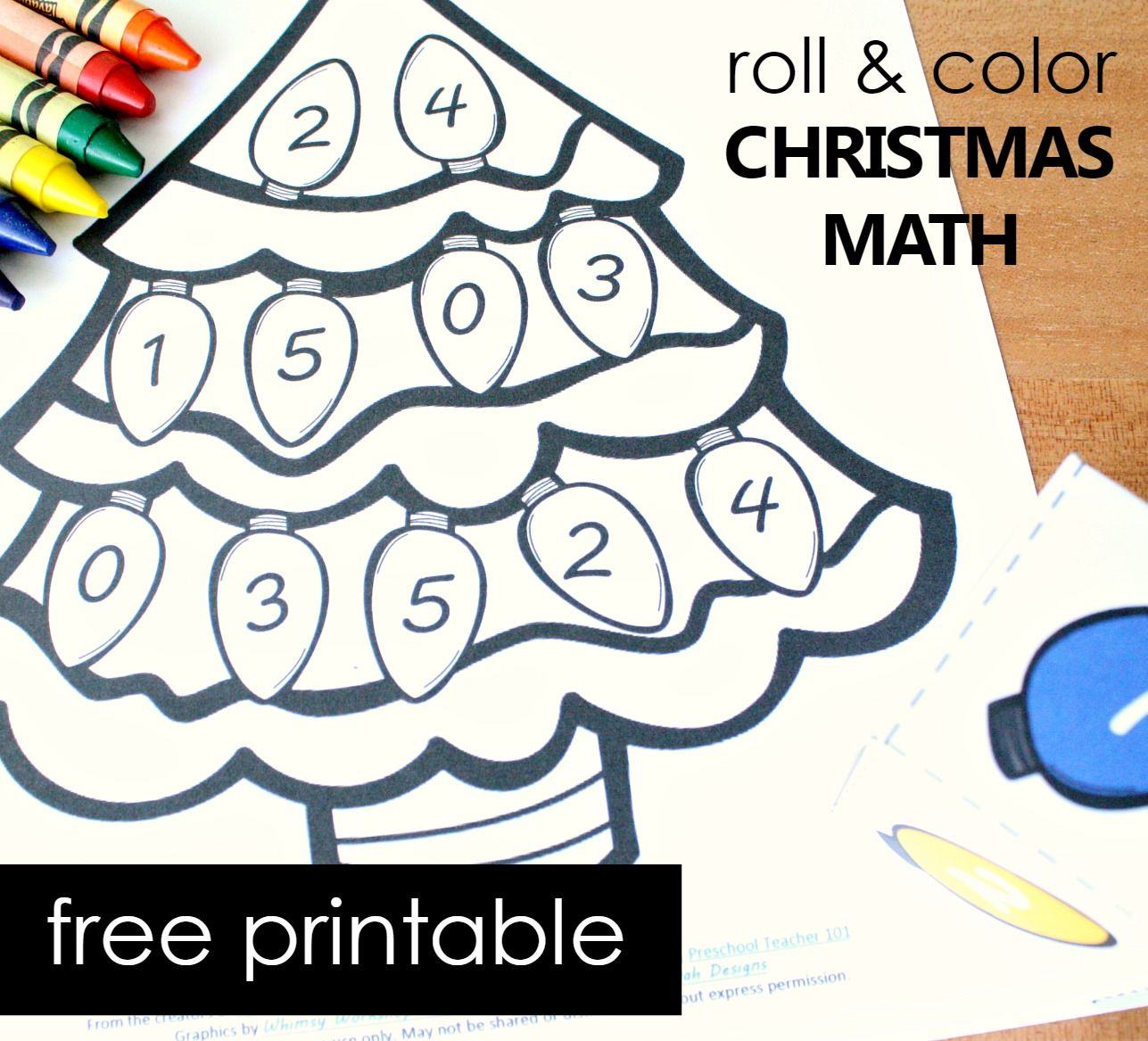 Roll And Color Christmas Tree Number Matching Activity