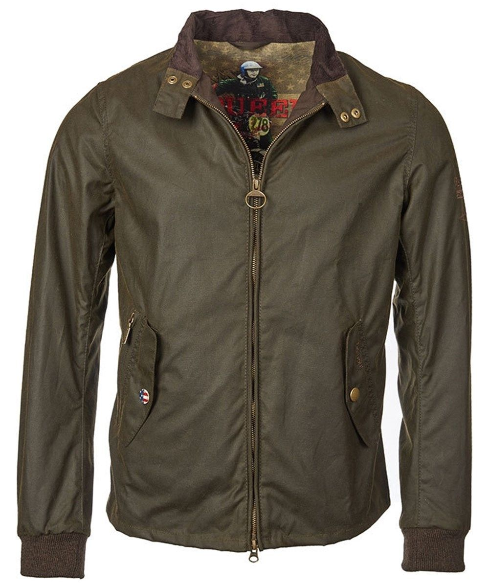 5ca956fb631 Mens Barbour Steve McQueen Wax Windcheater Jacket - Olive